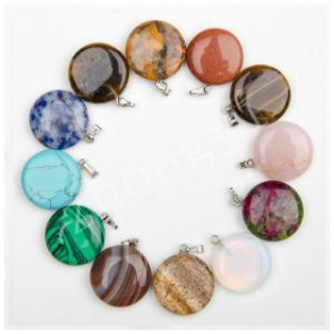 Assorted Natural Gem Stone Mulit Color Point Round Charms Pendants pictures & photos