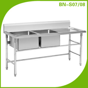 Double Bowls Stainless Steel Work Table With Sink/ Sink Bench