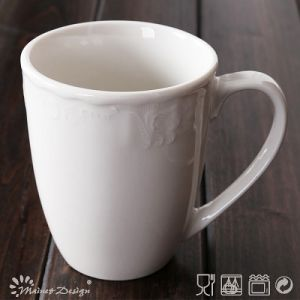 285ml White Porcelain with Embossed Classic Mug pictures & photos