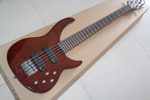 Hanhai Music/5 Strings Dark Red Electric Bass (Mifce H bass) pictures & photos