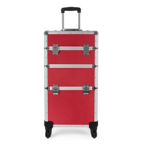 Salable Red Makeup Train Case with Trolley (HX-A0742) pictures & photos