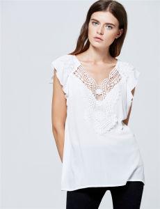 08f12e7278b413 2017 Wholesale Clothing Ladies Fancy White Capsleeve Chiffon Lace Tops  Blouse Women Designer Western Tops Images