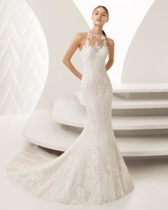 Stunning Lace Halter Mermaid Evening Prom Bridal Gown Wedding Dress 3164