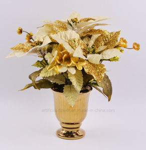 Kinds of Artificial Christmas Hydrangea with Electroplate Ceramic Pots for Holiday Decoration
