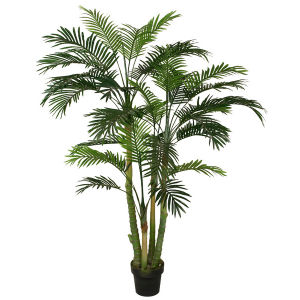 Artificial Mini Palm Plants with Plastic Pot for Evergreen