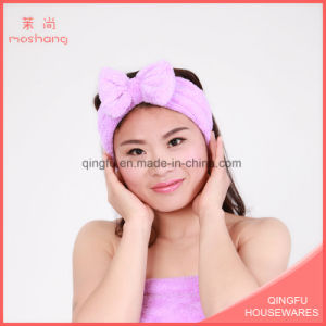 Elastic Coral Fleece Headband with Bowknot