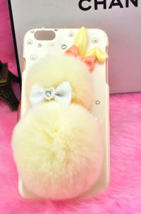 Luxury Genuine Rex Rabbit Hair Fur Hard PC Mobile Phone Case for iPhone6, 6plus with Glitter Crystal Cover for iPhone and Samsung pictures & photos
