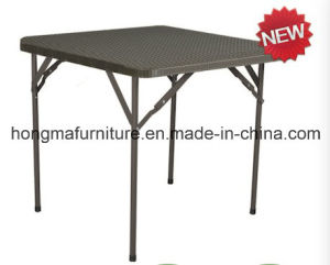 New Rattan Design Plastic Square Folding Table for Outdoor Use