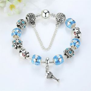 Popular Blue European Glass Beads Charms Bracelets pictures & photos