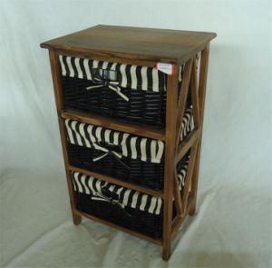 Roasted Pine Wood Shelf Storage With Wicker Basket
