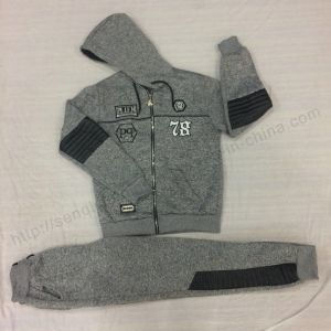 Boy Fleece Suits Clothes with PU in Children's Clothes Sq-6310