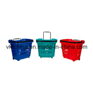 High Quality 2 Wheels Supermarket Rolling Shopping Basket