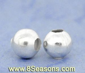 Silver Plated Smooth Round Spacer Beads 6mm (B10448)