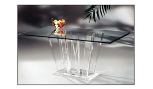 Transparent Glass Top Acrylic Base Dining Table for Sale
