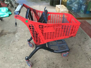 Red Plastic Shopping Cart with Coin Lock (JT-EP04) pictures & photos
