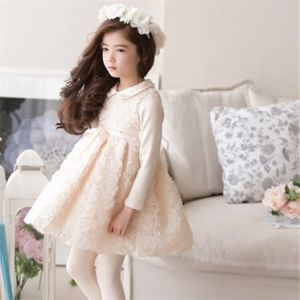 Kd59 High Quality Girls Dress Lace Mesh Flower Princesss Dress Korean Style Girls Autumn Clothes with Beaded Doll Collar and Sash pictures & photos