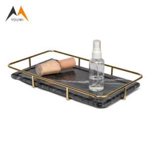 Wholesale Luxury Rectangle Metal Storage Tabletop Marble Serving Tray