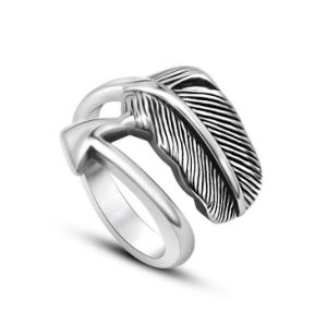 Feather Couple Ring Stainless Steel Bright Silver