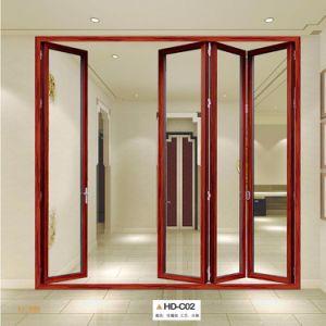 Wood Color Aluminum Metal Frame Sliding Door Accordion Doors