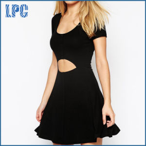 Bodycon Elegant Fashion Hollow out Summer Dress with Front Button pictures & photos