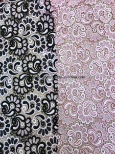Fashion Double Colors 100% Polyester Lace Fabric Garment Accessorie for Dress 0014 pictures & photos
