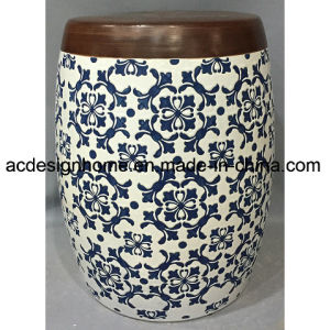 Wondrous Outdoor Chinese Antique Stylish Retro Ceramic Porcelain Wooden Top Paint Drum Stool For Garden Decor Gamerscity Chair Design For Home Gamerscityorg