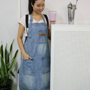 Factory Custom Top Quality Blue Wash Denim Work Apron for Coffee Shop and Bar