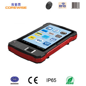 China Andorid Touch Screen Handheld RFID Reader with Fingerprint Barcode Scanner