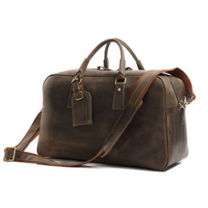 Men′s Brown Vintage Genuine Leather Cowhide Classic Travel Luggage Duffle Gym Tote Bags