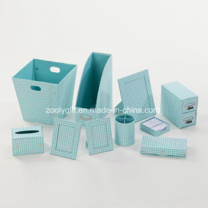 Pink Grid Printing Paper Cardboard Desktop Organizer Office Stationery Set pictures & photos
