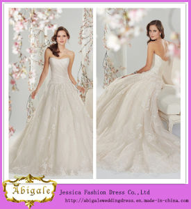 New Elegant Ball Gown Lace Sweetheart Sleeveless Appliques Wedding Gown Bridal Wedding Dress Yj0013