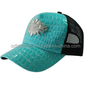 Popular Shinning Fake Leather Mesh Sport Trucker Cap (TMT1911) pictures & photos