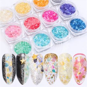 12 Color Holographic Nail Glitter Sequins Powder Manicure Nail Rhinestone Charm Flash Chunky Glitter Sparkle Nail Art Decoration