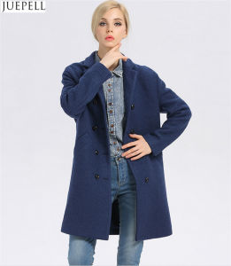 European Brand New Good Quality Women Winter Coat Long Double-Breasted Women′s Windbreaker Blue Wool Coat pictures & photos
