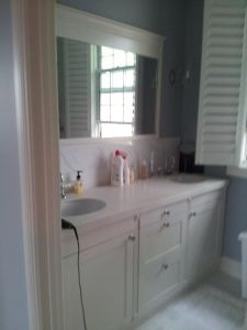 White Lacquer House Bathroom Cabinets Designs