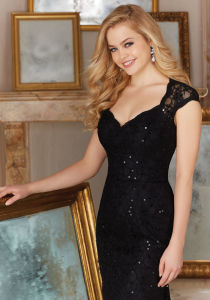 Custom Mother′s Gowns Black Champagne Sequins Lace Evening Dresses Z7043 pictures & photos