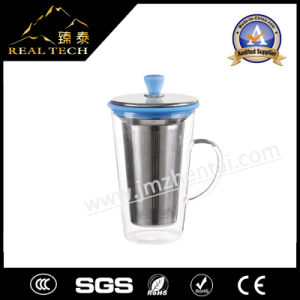 Personal Silicon Grip Glass Tea Cup with Infuser and Stainless Steel Cap