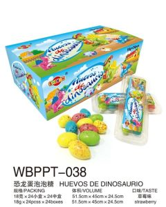 Dinasour Egg Bubble Gum with Different Color Huevo De Dinosaurio Goma Chicle Fruta