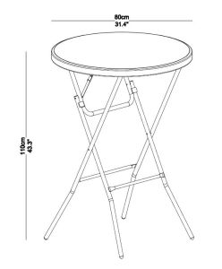 110cm Height 80cm Round Samll Plastic Folding Bar Cocktail Tables pictures & photos