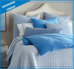 Blue Lines Printed Polyester Quilted Bedspread Set pictures & photos