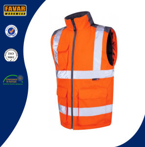 Hi Vis Polyester Waterproof Bodywarmer Sleeveless Jacket