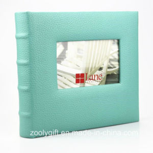 Customize Book Bound Luxury Leather Photo Album with Photo Window pictures & photos