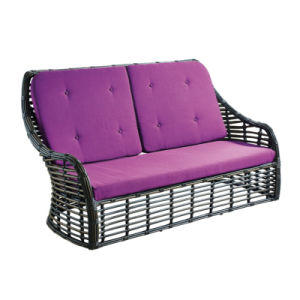 Hot Sale Anodized Aluminum Frame Rattan Outdoor Furniture Sofa with Stool pictures & photos