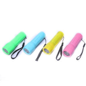 Plastic 9LED Mini Torch with Lanyard 3AAA Batteries Flashlight pictures & photos