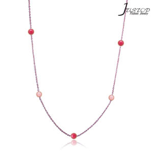 China Custom Logo Rose Gold Chain Red Stone Jewelry Necklace Set China Necklace Set And Women Necklace Price