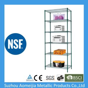 Multi-Purpose 6 Tiers Epoxy Black Steel Storage Wire Rack with Wheels