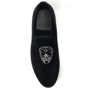 610b82ec68360 China Men Wedding Shoes Black Embroidered Velvet Loafers Slippers ...