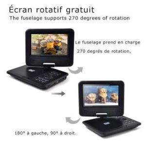Portable DVD Player For Kids 7 Inch With Swivel Screen