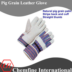 Rubberized Cuff, Full Palm, Blue Pig Grain Leather Work Gloves pictures & photos