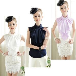 e68b8709bef3ac China Women′s Ol Chiffon Elegant Bow Stand Collar Sleeveless Flounced  Blouse Shirt Tops - China Ol Blouse, Women Shirt